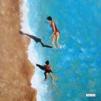A Little Piece of the Beach-Orange Swim-art-print-Jacqueline Hammond-Smartdeco