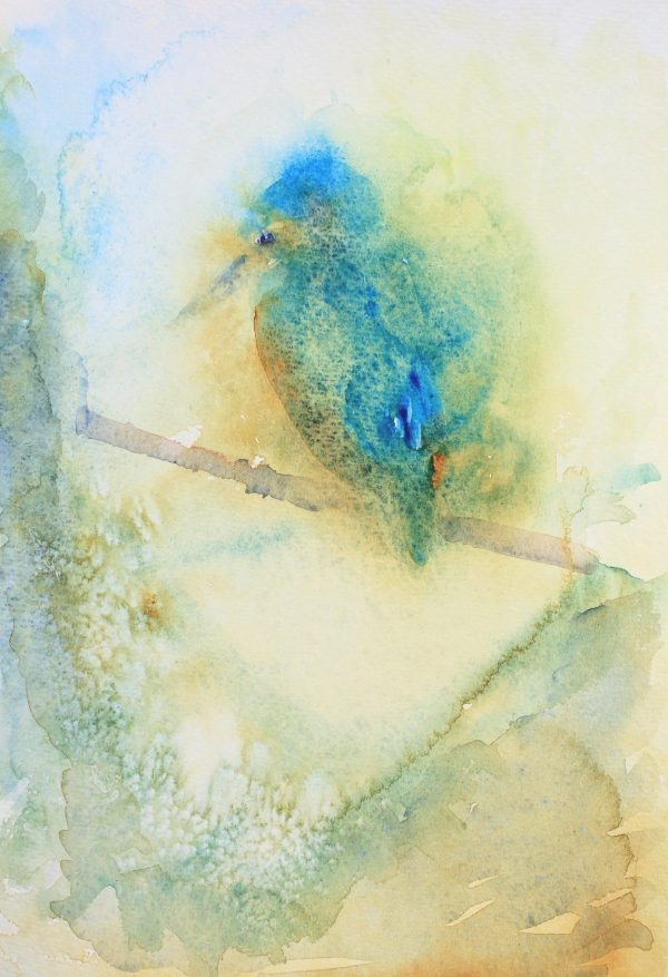 watercolour painting of a kingfisher