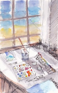 Painting of the inside of an art studio with a sea view