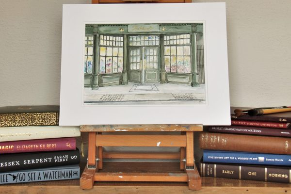 A mounted watercolour of the Oldest Bookshop in London, Hatchards, Piccadilly.