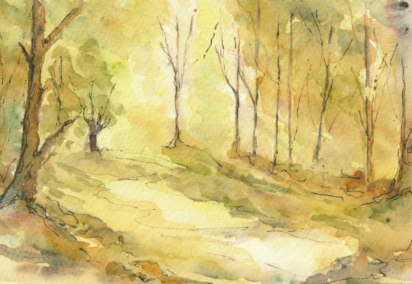 Longing - Mounted Watercolour in the Ancestral Woods Collection