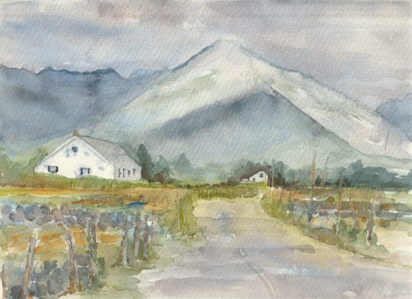 Richly coloured watercolour painting of The Road to Dog's Bay - Connemara