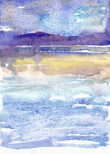 gorgeous blues and mauves on Fabriano rough textures watercolour paper.