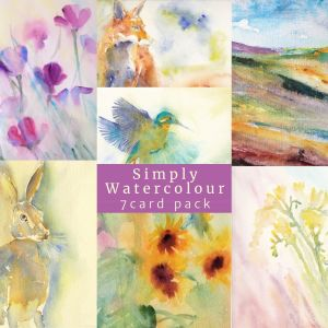 An image showing the 7 designs in the watercolour card pack. Poppies, freesias, sunflowers, colourful landscape, hare, fox and Kingfisher.