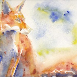 Lots of lovely rich red and gold brown, textures and lovely water marks in the painting of a handsome red fox. 7x5 greetings card.
