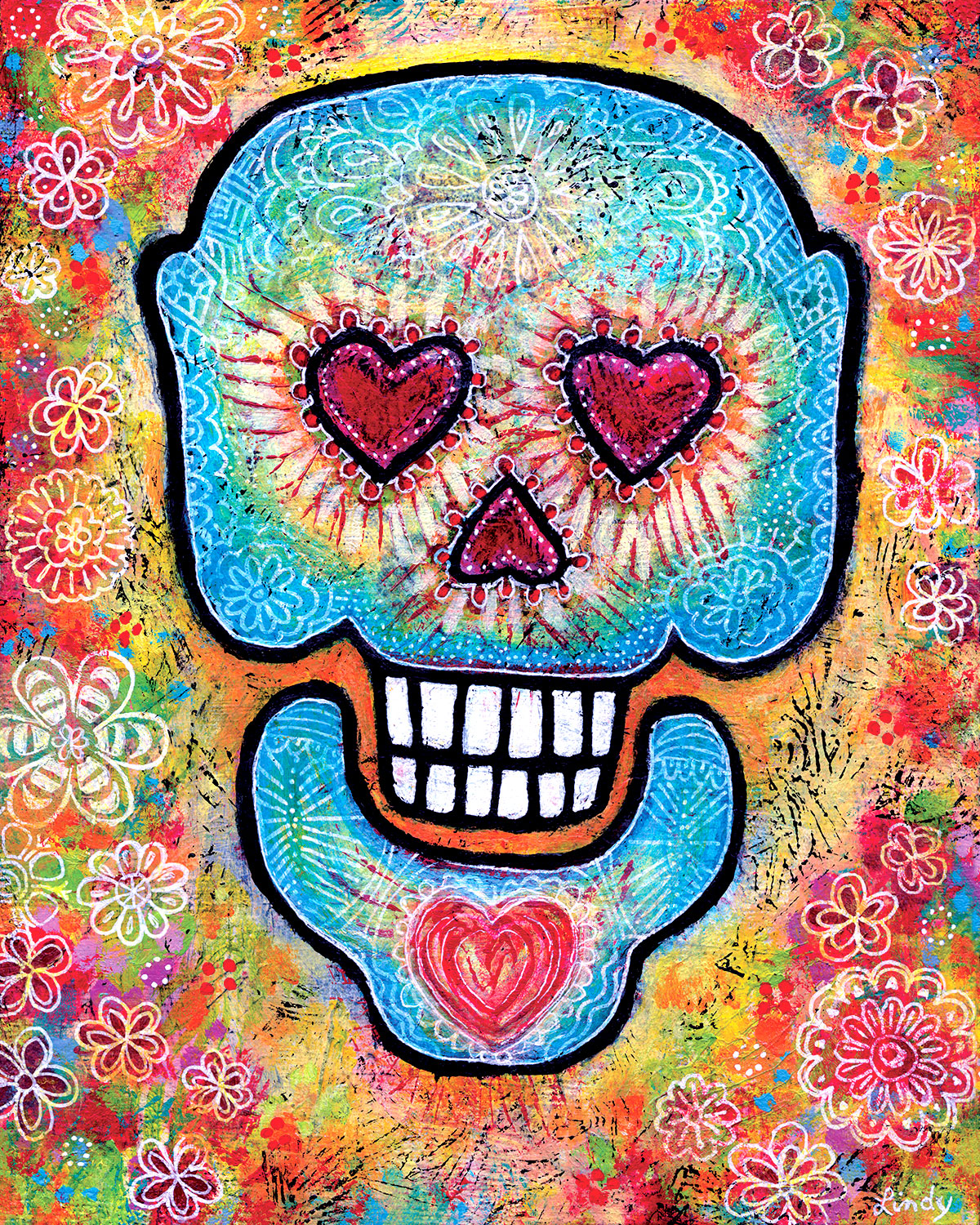 whimsical Sugar Skull painting by Lindy Gaskill