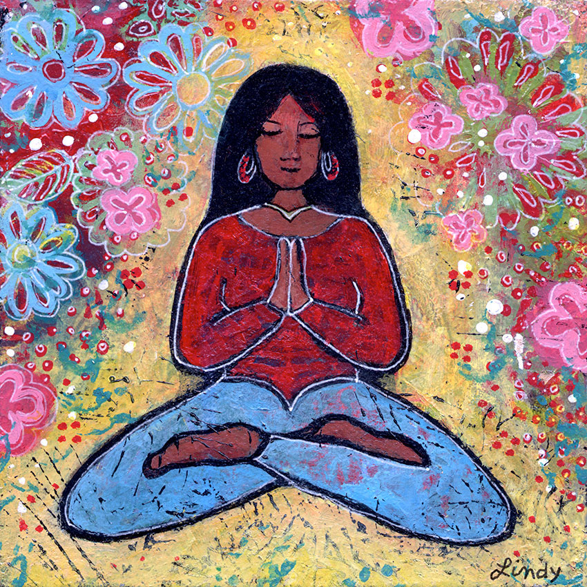 black yoga girl painting by Lindy Gaskill