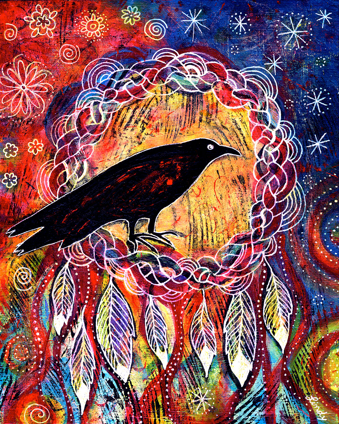 colorful raven painting by Lindy GaskillRaven