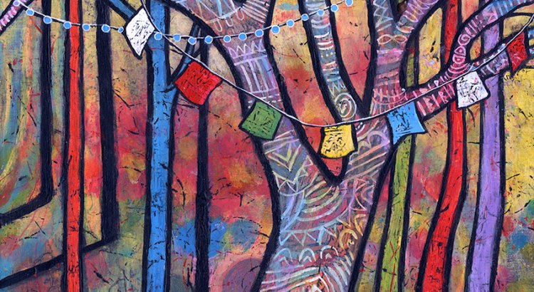 colorful tree painting by Lindy Gaskill