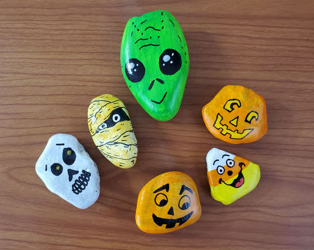 I want to use rigid styrofoam insulation panels to create walls for my haunted house. Halloween Rock Painting Ideas Art By Ro
