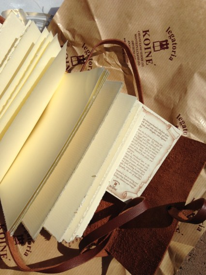 Hand bound Italian book. Leather outer, watercolor paper inside