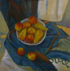 Working on the fruit and bowl