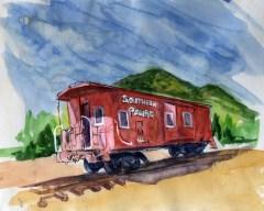 'SP Caboose' Joan Sullivan 12x14 watercolor pen n ink