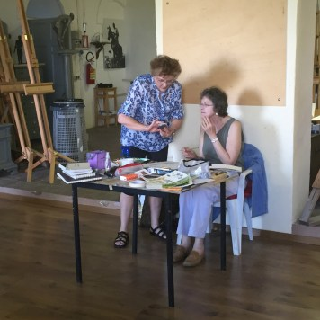 Tricia Reichert with Art Student in Tuscany