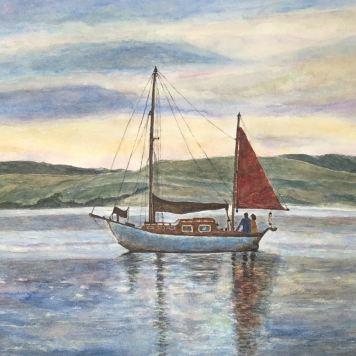 "Ji Li ""Boat with Red Sail"""