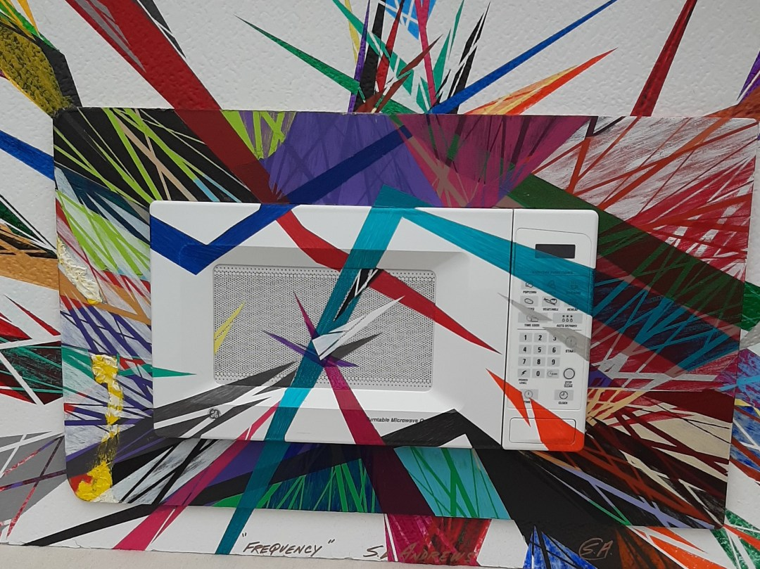 """""""This is the third pc., of Series.   ( found / known / objects ) Title :  """" FREQUENCY """"   Again working with different materials.   The size is 34w  x 23h"""" - Steve Andrews"""