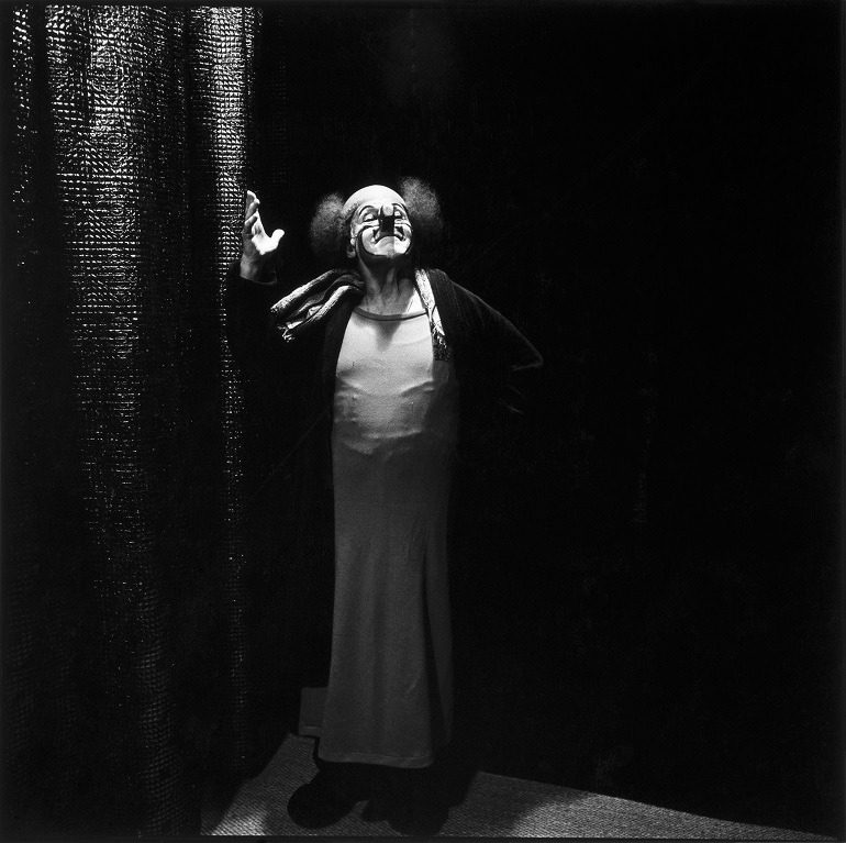 Image- Photo of Charlie Rivel, c. 1980, dressed as a clown . It was taken by Portrait Photographer Hans Gedda