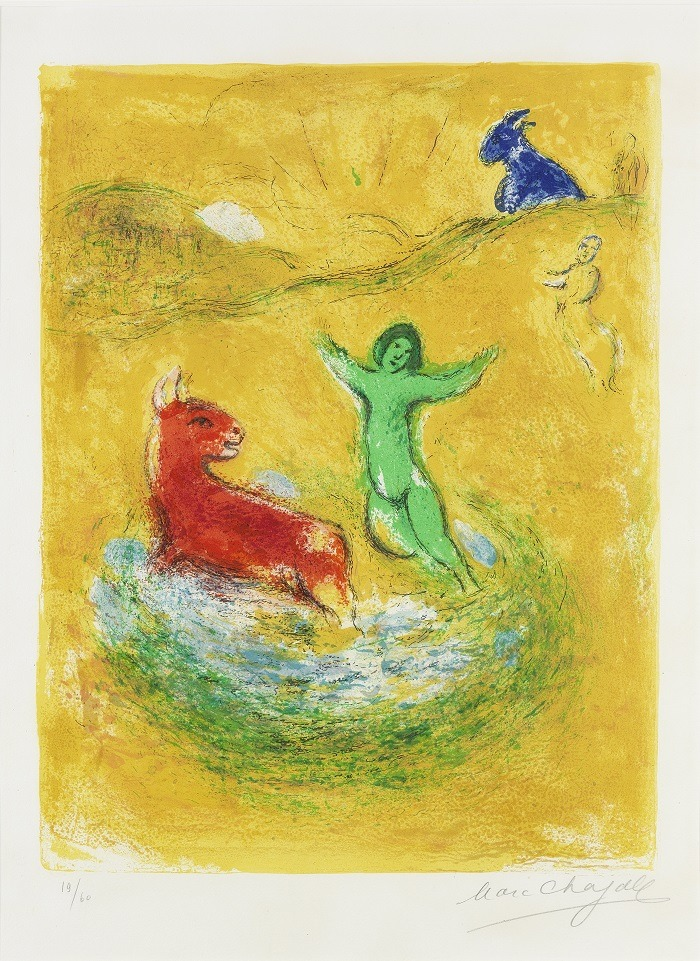 Image- Marc Chagall, the famous artist from  Russian/French, created this stunning print  titled  'The Wolf Pit, from Daphnis and Chloe'.   It one of the works generating great excitement  for the art auction