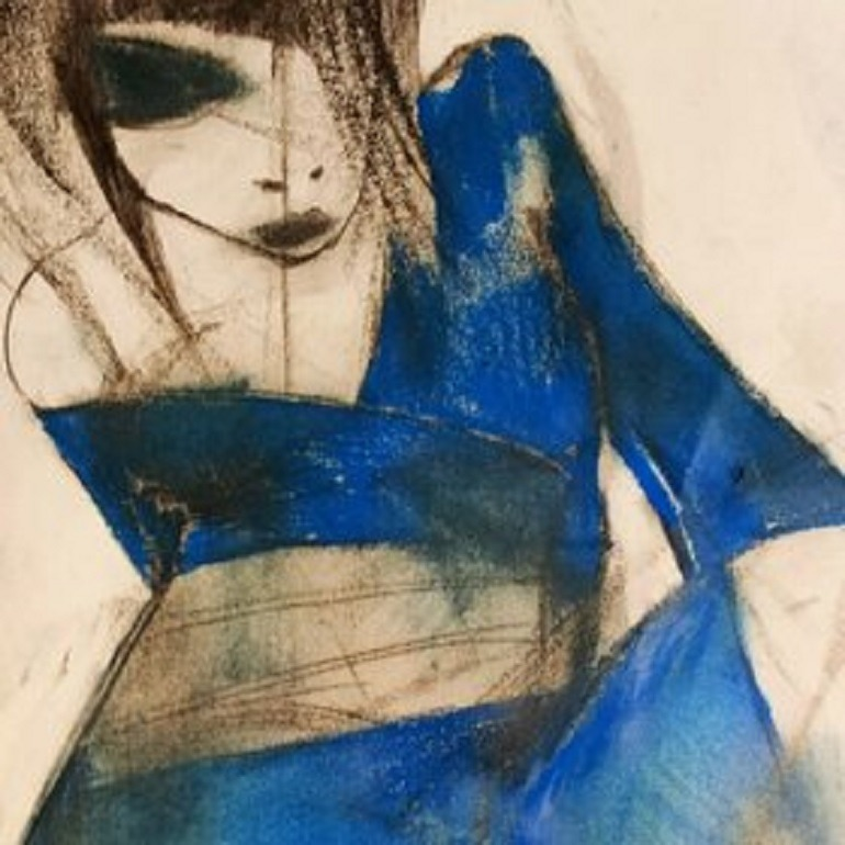 Image- Geisha Woman 2013 by the Multimedia Artist Maurizio Barraco, is an oil on canvas 100x70 painting of a woman dressed in blue in a Sensual mood
