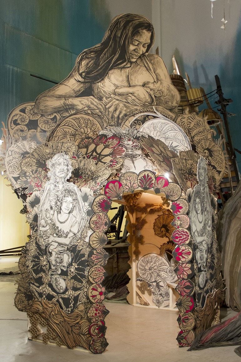 Image- Mother and child-Madonna-  Figurative art print   that is part of Swoon -Submerged- Motherlands -Brooklyn Musem