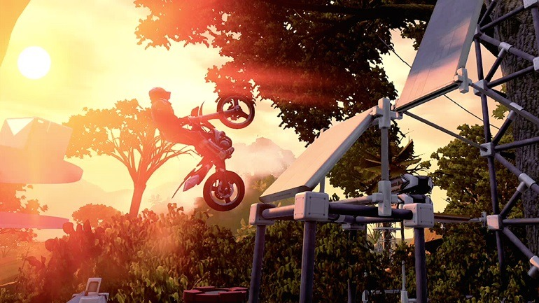 Image- Biker confronts dangerous obstacles in Ubisoft , redlynx Trials Fusion bike racing games. Latest free update electrify Video biker games players
