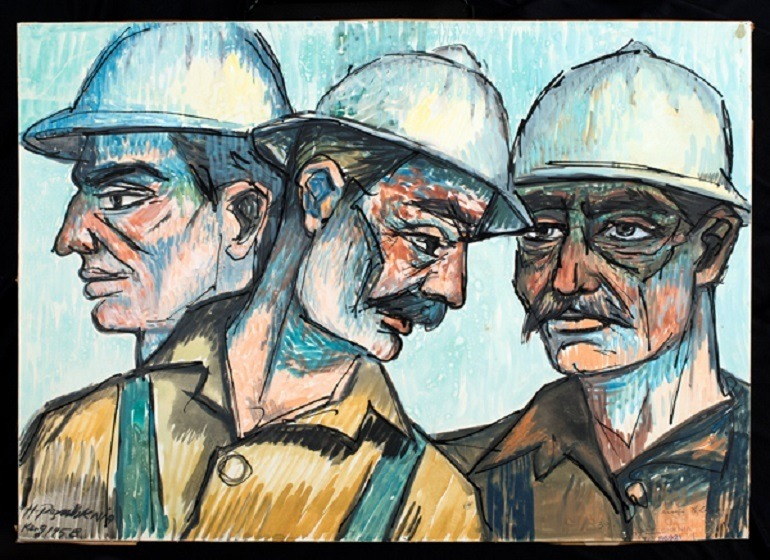 Image: Watercolor on cardboard painting by Houshang Pezeshknia shows three Iranian oil workers at the height of the Iranian oil boom of the 1970s