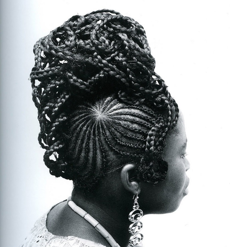 Image: Photograph of a beautiful Nigerian hair style by J.D. 'Okhai Ojeikere, titled Abebe, is printed on Gelatin silver print