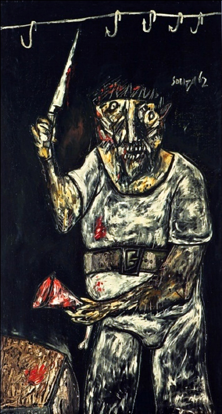 Image: Oil on satin painting titled The Butcher, painted in 1962 by Francis Newton Souza (1924-2002), sold at Christie's auction Asian art sale