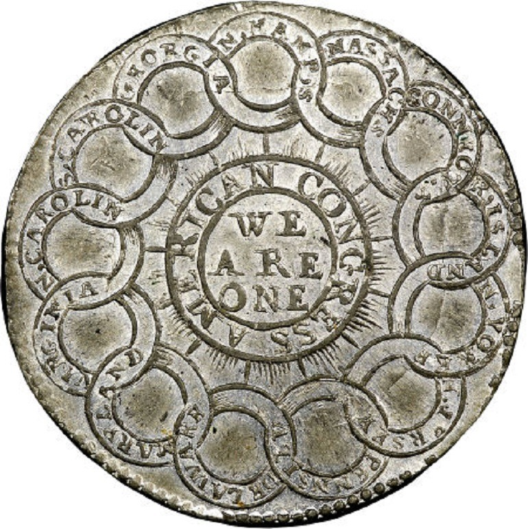 Image: 1776 rare continental dollar, Currencey, Pewter got great attention from rare coin collectors at the auction