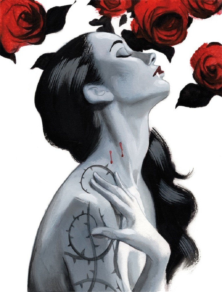 Image: A beautiful woman shows off Dracula's bite under red roses in Dracula - Graphic Novel Illustrated Edition by Fernando Vicente