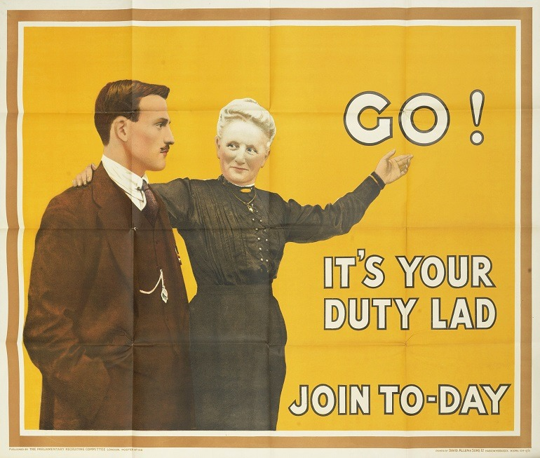 Image: In this recruitment poster for First World War, a woman seduces a man to join the army by saying 'Go! It's Your Duty Lad'