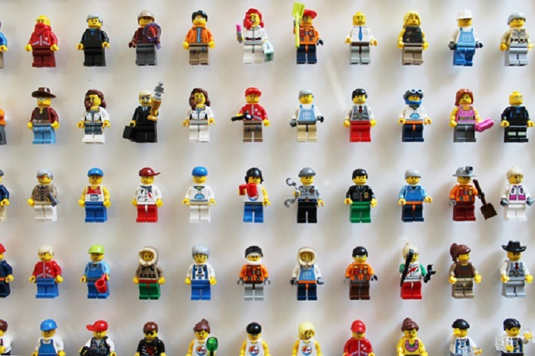 Image: We are the people, Hand-styled LEGO figures, cast acrylic, framed in acrylic tray by James Burke