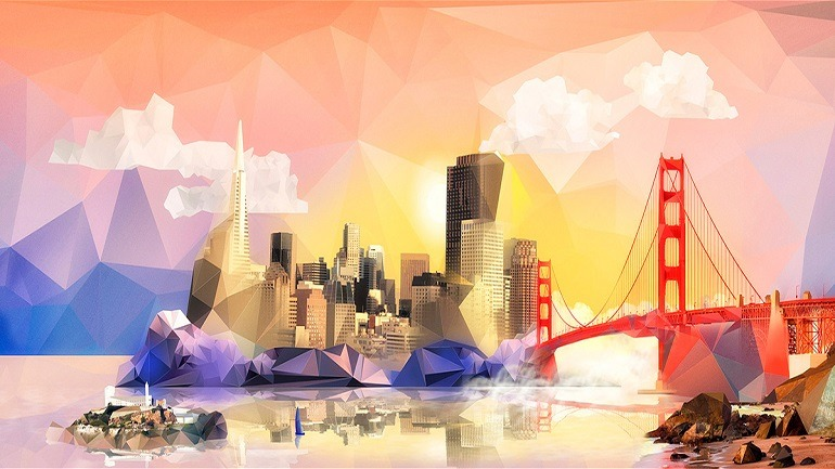 Image: Visual for Adobe Summit 2014 in San Francisco by Vasava includes landmarks like the Golden Gate Bridge, Transamerica Pyramid, Coit Tower and other amazing architecture