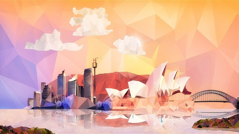 Image: Visual for Adobe Summit 2014 in Sydney, Australia by Vasava includes landmarks like Sydney Opera House, Sydney Harbour Bridge, Sydney Tower, Darling Harbour and other interesting markers
