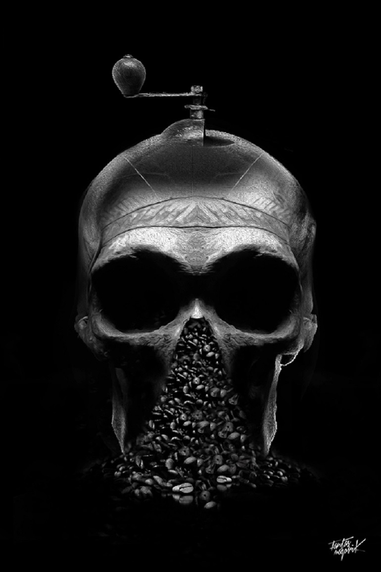 Image: Obery Nicolas art illustration for 'The Coffee Art Project' features fractured skulls and coffee beans