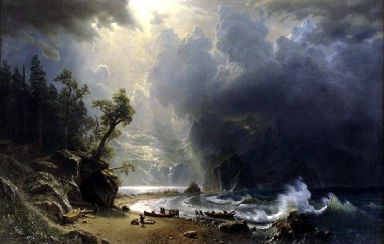 Art Museums Super Bowl Wager Excites Art and Football Lovers Image:  Albert Bierstadt, Puget Sound on the Pacific Coast, 1870, wagered  by the Seattle Art Museum for Super Bowl XLIX at the University of Phoenix Stadium, Glendale, Arizona