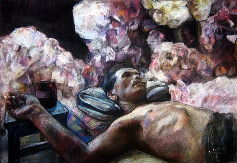 Image: Regrets, a pastel on paper by Vivian Ho shows a man smoking  blowing smoke in the air. Hong Kong Experience