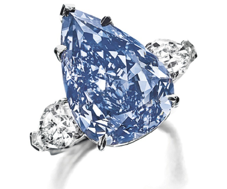 Image: The Winston Blue, a pear-shaped fancy vivid blue, flawless diamond of 13.22cts. Sold during Magnificent Jewels auction in Geneva