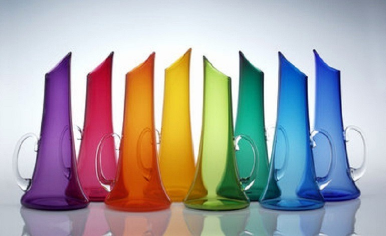 Nicholas Kekic, Transparent Colored Glass Pitchers, arts and crafts by Nicholas Kekic of  Tsuga Studios