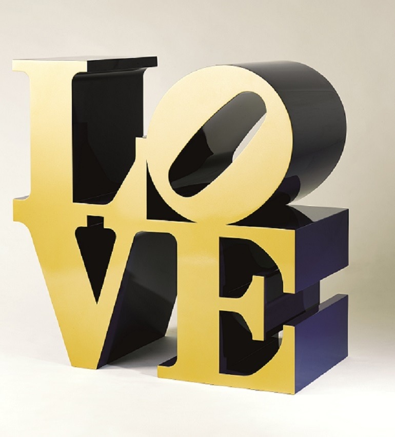 Image: Indiana Roberts,  LOVE (GoldBlue) sculpture was the top lot at Christie's auction house  art sale in Hong Kong