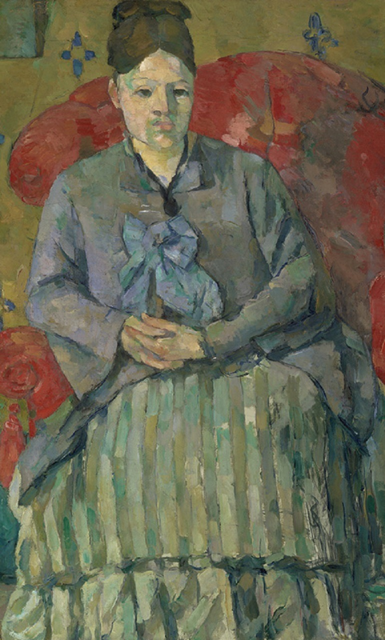 Madame Cézanne in a Red Armchair (Madame Cézanne in a Striped Dress), ca. 1877 by Paul Cézanne (French, 1839–1906) is an Oil on canvas