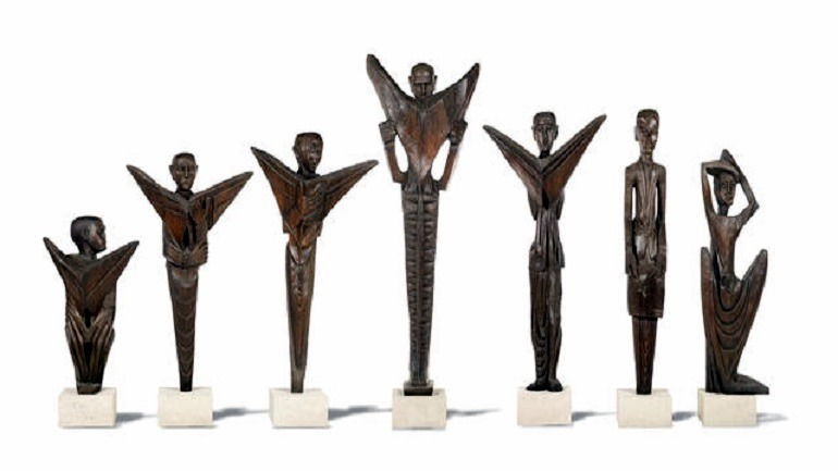 Image: Ben Enwonwu, one of Nigeria's must celebrated artists created the Seven wooden sculptures for the Daily Mirror in 1960-Bonhams Auctions News