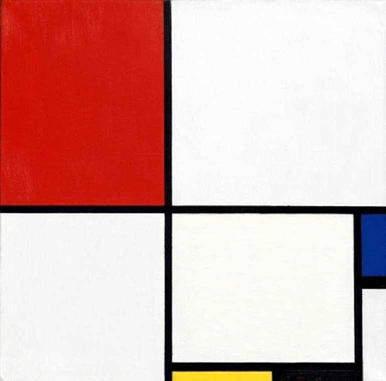 Image: Piet Mondrian: Composition No. III (Composition with Red, Blue, Yellow and Black), is an oil on canvas painting executed in 1929