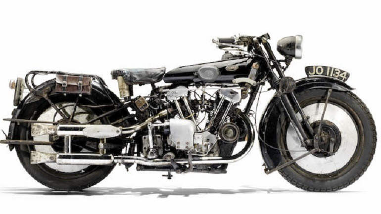 Image: 1930 Brough Superior OHV 680 Black Alpine  motorcycle was a top lot at Bonhams Spring Stafford Sale