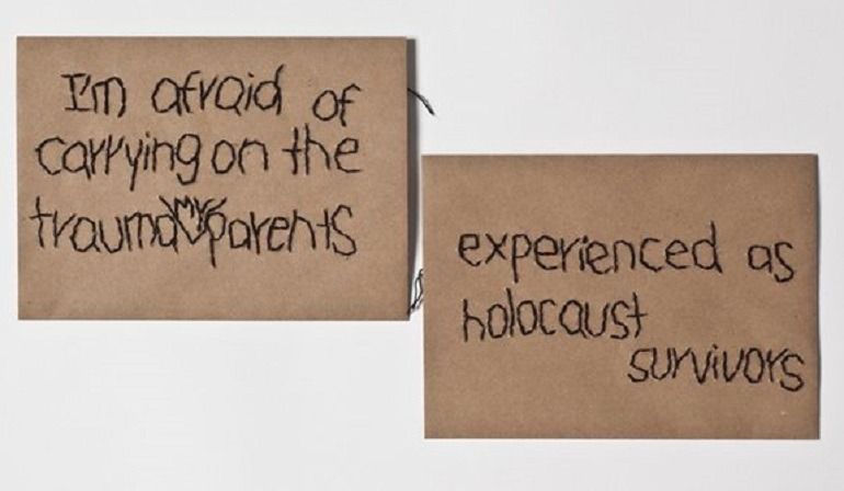 Image:  Batia Shani, Untitled, 2015, 2 embroidered envelopes, 13.2 x 18.4 cm, shows fear of unrest in the Middle East