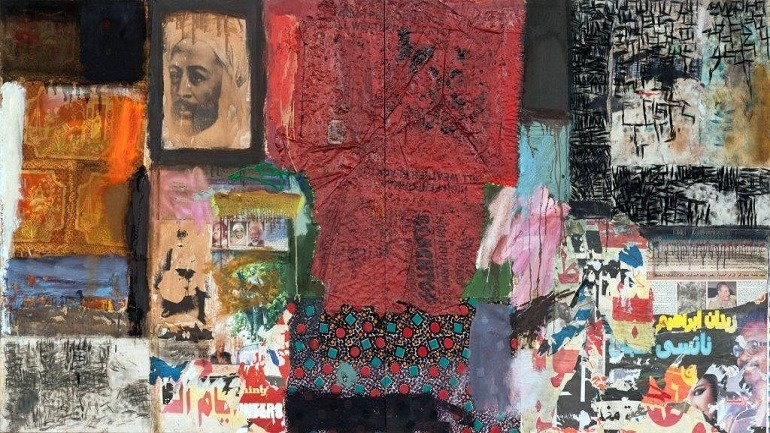 Image:  Mohammad Omar Khalil, Sallow 2,  oil & collage on wood, 115.5x230.5cm 2013 bridges the culture between Egypt and Sudan -Art Review