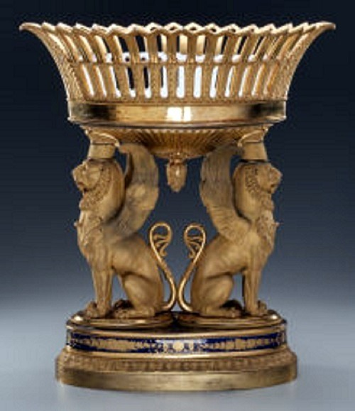 Image: Paris porcelain figural compote with gilt bronze mounts, circa 1880, did well in the art sale where Tiffany lamps  made impressive  prices-News