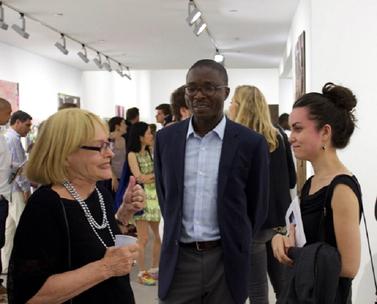 Image: Curator Ugochukwu-Smooth C. Nzewi with some guests at the exhibition opening at Richard Taittinger Gallery