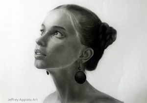 Image: Portrait drawing of a woman by Jeffrey Appiatu, a member of Art Drawings Facebook group