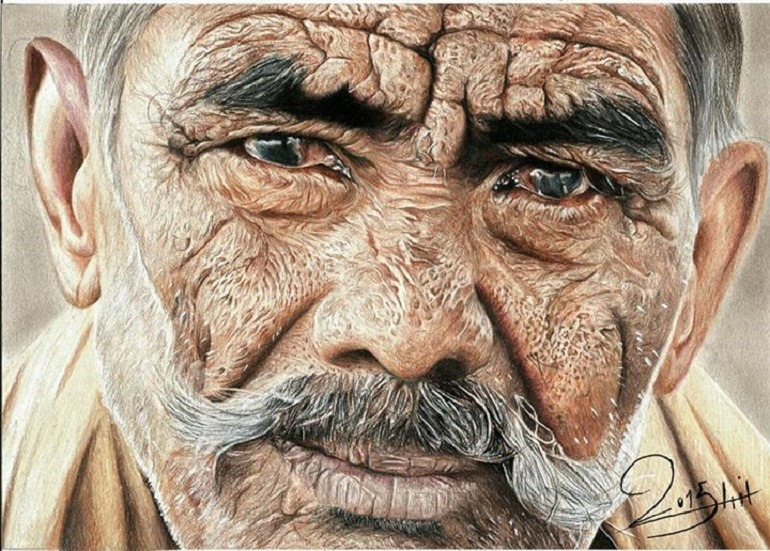 Image: Color pencil drawing titled Iraqi Touch by Nihad Mohammed